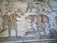 Romans capture a rhino (peter.a.klein (Boulanger-Croissant)) Tags: sicily italy villacasale roman ancient archaelogy villa 4thcentury mosaics art hunting expedition africa men rhino rhinosceros dog capture