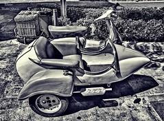Motorcycle with sidecar (Peideluo) Tags: motorbiker blanco y negro street black white monocromo monocromático