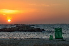 One little chair for you and a bigger one for 2 to curl up in (langdon10) Tags: countryside northsea norway sunset water beach chairs ocean shoreline winter