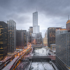 SNOWDOWN (Nenad Spasojevic) Tags: nenadspasojevicart illinois 2018 fly citylights snowdown buildings cold cityscape chi winter nenadspasojevic city building aerial clouds above windycity urbanexploration dji snow ice architecture urban explore perspective chicago droning river drone il usa