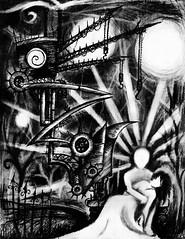 Haunted Daydreams (Skyler Brown Art) Tags: angst architecture art artwork bw blackwhite blackandwhite charcoal creepy dark darkness depressing drawing emo emotional goth gothic greyscale intense macabre paper pen sad surreal