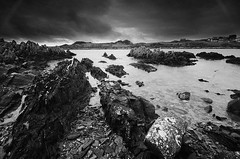 Isle of Whithorn (andy_AHG) Tags: isleofwhithorn scotland galloway wigtownshire northernbritain outdoors rural countryside history legend folklore nikond300s beach bay sand rocks shore sea tide solwayfirth irishsea rock sky landscape ocean monochrome