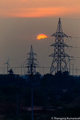 Powerlines and Sunset (Kumaravel) Tags: lr windmill tamilnadu transmissionline sunset travel india nikon d3100