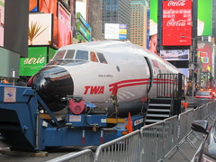 2019 Celebration of Retro TWA Hotel - Wingless Plane Times Square 4484 (Brechtbug) Tags: 2019 celebration retro twa hotel brooklyn wingless 1958 lockheed constellation connie l1649a starliner airplane visits times square before heading trans world airlines new yorks john f kennedy international airport known york anderson field commonly idlewild city march 23rd nyc 02232019