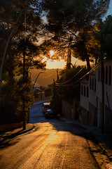 On the way to boulangerie (Varvara_R) Tags: spain travel explore sunny sunshine scene scenery scenic weather nopeople texture contrejour perspective light castelldefels sunrise road way walk