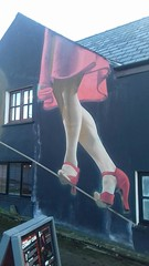 tight rope (vw4y) Tags: mural art streetart nearthecarpark narberth pembrokeshire wales redshoes