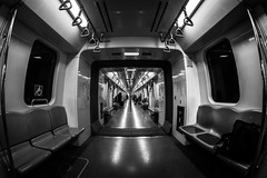 """Long train running""  / glimpse from the fish eye (Özgür Gürgey) Tags: 12mm 2019 bw d750 marmaray nikon samyang convergence fisheye lines repetition subway symmetry istanbul"