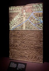 Painted with Light. Original colours of the painted wall relief from an Assyrian palace recreated with projected lights. The British Museum Ashurbanipal exhibition. (jd1001) Tags: polychromy palace ashurbanipal assyrian walkrelief light display atthemuseum britishmuseum exhibition