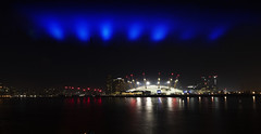 Lasers+Millenium-dome (Peter Warne-Epping Forest) Tags: docklands london lasers lights milleniumdome nightphotography night peterwarne uk