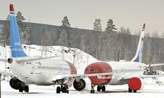 Norwegian LN-BKC + LN-BKF, OSL ENGM Gardermoen (Inger Bjørndal Foss) Tags: lnbkc lnbkf norwegian boeing 737 max8 osl engm gardermoen