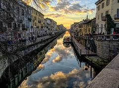 Milan's Navigli (PaoloCristina) Tags: sunset cloudysunset reflex watermirror naviglio milano navigli