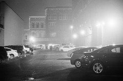 untitled-20 (dvlmnkillatron) Tags: 35mm film kodak bw selfdeveloped analog night evening champaign kodaktmaxp3200 pushed 6400 fog parkinglot jos