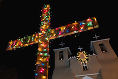 Christmas Cross (Trent's Pics) Tags: christmaseve newmexico nightphotography romancatholic sanfranciscodeasis sanfrancisco architecture catholic christmas church cross lights luminarias mission night taos