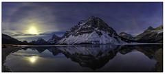 "Moon rising over Bow Lake-Alberta Canada (Joalhi ""Around the World"") Tags: bow lake winter crowfoot glacier"