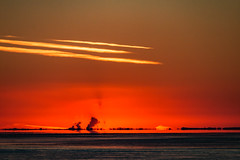 At Days End (langdon10) Tags: canada quebec stlawrenceriver sunset troisrivieres water clouds shoreline
