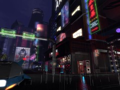 Some St & Any Rd Nunox (Tympany) Tags: rain city sim secondlife cityscape night street future cyber cyberpunk neon asian japanese vendingmachines fastfood diner neonsigns roadsigns advertising futuristiccar stores buildings sl explore virtual