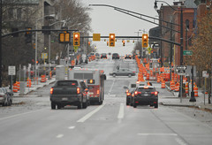 looking west on main (brown_theo) Tags: mainstreet columbus ohio 4th downtown traffic lights cones barrels barrel orange stoplight red light taillights cars