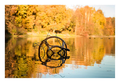 autumn lake (rcfed) Tags: hasselblad mediumformat digital lake autumn color reflection tree chair landscape