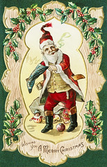 Santa Claus on a Christmas card (Free Public Domain Illustrations by rawpixel) Tags: jubjang pdproject20 pdproject20batch44 pdproject22 tong vector pdproject20batch44x antique art arts artwork border busy card christmas day decor decoration drawing frame gift greeting greetings happy historic historical history holly illustration man merry merrychristmas name nicholas ornament ornamental painting person postcard present print prints publicdomain retro santa santaclaus smoking stocking stockings vintage wishing wooden xmas
