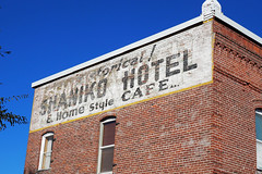 Historical Shaniko Hotel (Eclectic Jack) Tags: shaniko eastern oregon trip october 2018 rural autumn fall central ghost town highway hwy 97 small history america americana west old brick building sign wall window sky blue