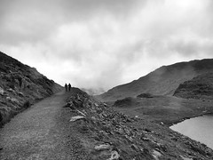 Descent from Mount Snowdon (Wales) (BKNielsen4) Tags: snowdon mountain snowdonia nature weather wales uk fog atmospherics lake water black white path clouds mist rain bw