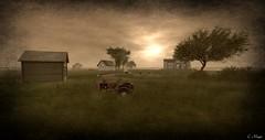 Tractor (Loegan Magic) Tags: secondlife landscape monochrome tractor trees field farm house grass sky