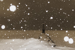 Looking toward the unknown (aerojad) Tags: eos canon 80d dslr 2019 chicago urban snow snowing winter february bokeh snowkeh outdoors city lakemichigan night nightphotography nightscape winterscape snowscape
