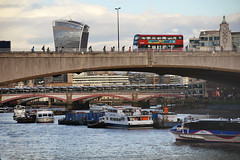 Monday evening (HoosierSands) Tags: riverthames bus boat thamesclipper london