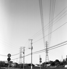Power lines (odeleapple) Tags: rolleicord lv schneider xenar 75mm neopan100acres film monochrome analog bw power electricity line sky