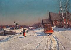 Андрей Егоров «Зима на Урале» (Gostya) Tags: winter russianvillage russianart woman paintings art artists