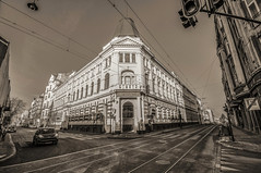old main post (rafasmm) Tags: łódź lodz poland polska europe city citycenter building old post history street streetphotography streetphoto sepia monochrome outdoor impression uwa wide nikon d90 sigma 1020 ex urban crossroads walk