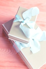 Pretty Presents (Karen_Chappell) Tags: present gift box ribbon pastel blue party birthday package parcel stilllife tan white holiday product