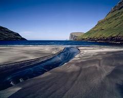 River on the beach (JaZ99wro) Tags: exif4film faroe f0367 ocean provia100f e6 tetenal3bathkit plustekopticfilm120 pentax67ii blue film analog