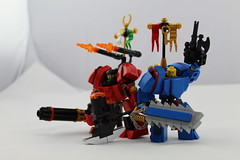 Red v Blue (sok117) Tags: lego warhammer mech red blue legos hammer sword chainsaw axe gun