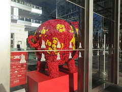 Red Floral Pig Lobby of the Time Warner Center NYC 2331 (Brechtbug) Tags: 2019 red floral pig lobby time warner center nyc 10 columbus circle new york city flower shaped bouquet piggy bank like wild boar flowers decor decoration standee