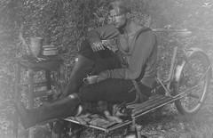 Skip~CoffeeBreak -BW (Skip Staheli *11 YEARS SL PHOTOGRAPHY*) Tags: skipstaheli secondlife sl avatar virtualworld fashion rkkn spring dreamy digitalpainting bike coffee dog jian