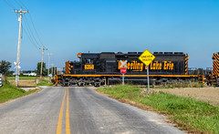 Wheeling 6359 West At Spencer (Brandon.H.Photography.) Tags: wheeling lake erie akron canton youngstown carey sub subdivision spencer ohio orange black road stop sign emd sd402 rebuild rebuilt train trains railroad railroads rail rails railway railfan fan fanning cross canon photography adobe lightroom