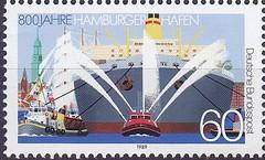 Deutsche Briefmarken (micky the pixel) Tags: briefmarke stamp ephemera deutschland bundespost hamburg hafen harbor