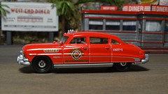 1951 Hudson Hornet Fire Chief Car. (ManOfYorkshire) Tags: fernandovalley fire chief rescue car 1951 hudson hornet detailed matchbox 164 scale model diecast unit1 nuwan firedept firedepartment diner diorama