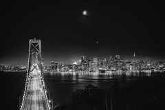 I'll Take You On a Moonlight Ride (Thomas Hawk) Tags: america bayarea baybridge california northerncalifornia sf sfbayarea sanfrancisco usa unitedstates unitedstatesofamerica westcoast bridge bw norcal fav10 fav25 fav50 fav100