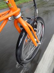 Splish Splash (stevenbrandist) Tags: explore water road orange spaceframe moulton tsr27 tsr cycling commute commuting rain