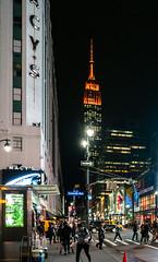 Lighting Up the Street (Jocey K) Tags: empirestatebuilding sonydscrx100m6 triptocanadaandnewyork architecture street people cars roadcones billlbroads newyorkcity