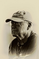 St George 399 (Alan McIntosh Photography) Tags: portrait sport motorsport man monochrome sepia legend st george