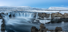 Godafoss - Merry Christmas (Pete Rowbottom, Wigan, UK) Tags: iceland island landscape panorama waterfall snow ice cold godafoss mountains winter water slowshutter longexposure rocks cliffs dramatic christmas peterowbottom nikond810 nature beauty northerniceland icelandic volcanic geotagged akureyri movement nisifilters sunrise dawn morning visipixcollections