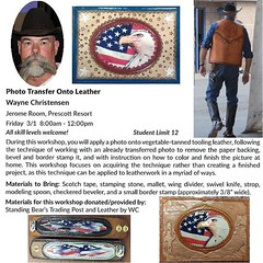 Learn to transfer photos onto your leathercraft projects at the Southwest Leather Crafters Trade Show by signing up for the photo transfer class with WC http://bit.ly/2FrWbAK #LetsTalkLeather #ThinkOutsideTheBigBox #LeathercraftSupplies #leatherworkshops (standingbears) Tags: instagram lets talk leather leathercraft supplies think outside big box shop small