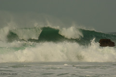 3KB13441a_C_2019-02-06 (Kernowfile) Tags: pentax conwall cornish stives porthmeorbeach sea waves breakingwaves spray foam spindrift rocks sky theisland