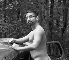 Jacob - Monochrome (seventh_sense) Tags: forest woods outdoor outdoors rain rainy afternoon nude model male man figure car automobile abandoned deserted derelict rust metal rusted rusty weathered bare portrait study tree trees leaf leaves summer hike nature natural jake wood
