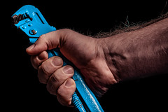 Hand Tool (donnicky) Tags: blackbackground closeup hand holding humanbodypart indoors publicsec studioshot tools wrist