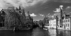 Venice of the North - Bruges ( West Flanders - Belgium) (Monochrome) Olympus OM-D EM1.2 & M.Zuiko 7-14mm f2.8 Wide Zoom (1 of 1) (markdbaynham) Tags: bruges brugge city belgium belgiumcity flemishcity flemish flanders westflanders urban urbanlife europeancity metropolis medievalcity historiccity famousplace architecture buildings belgiumbeer beer people citybreak cityscape citylife olympus omd omdm43 omdem1 m43 mft olympusmft mirrorless micro43 microfourthird microfourthirds mirrorlesscamera olympusmicro43 em1 em1ii em1mk2 em1mark2 em12 m43rd zoomlens bw blackwhite monochrome canal 714mm widezoom zd mzd mzuiko zuikolic