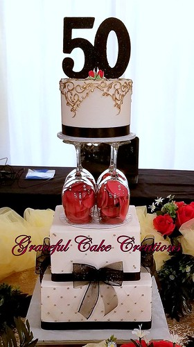 Admirable Elegant 50Th Birthday Cake In Gold Black And Red A Photo On Funny Birthday Cards Online Bapapcheapnameinfo